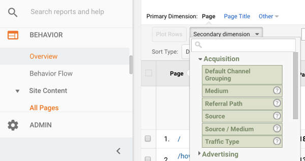 google-analytics-behvior-reports-secondary-dimension
